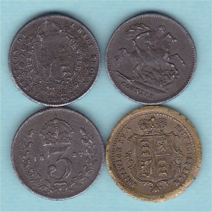 Victorian miniature Dolls House / Model money, 4 coins. Copper - Tokens Coins from The Coin Cellar